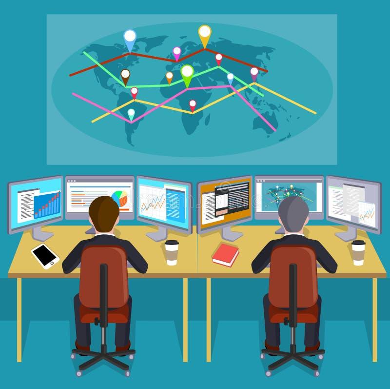 Люди на рабочем месте перед картой мира с индексами направлений бесплатная иллюстрация