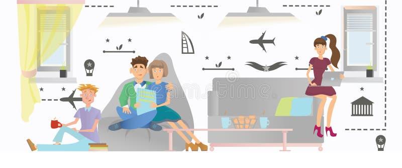 Люди ослабляют в публичном месте общежития или гостиницы также вектор иллюстрации притяжки corel иллюстрация штока