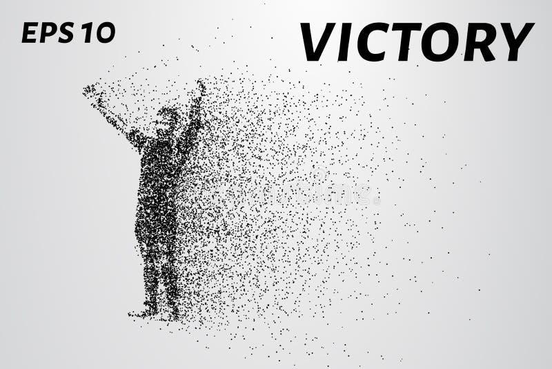 Люди от частиц Торжество победы малых кругов также вектор иллюстрации притяжки corel стоковые изображения