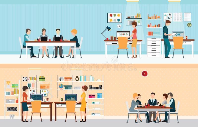 Люди офиса с столом офиса иллюстрация вектора