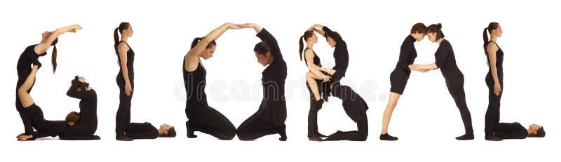Люди одетые чернотой формируя ГЛОБАЛЬНОЕ слово бесплатная иллюстрация