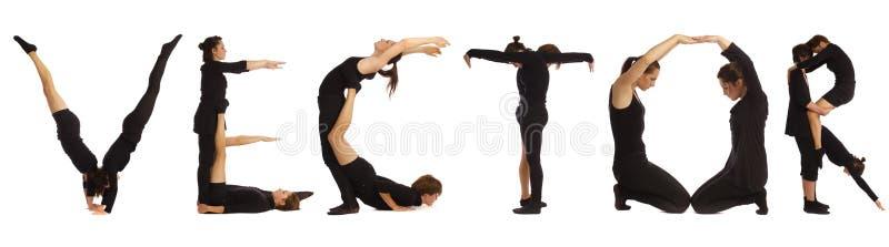 Люди одетые чернотой формируя слово ВЕКТОРА бесплатная иллюстрация