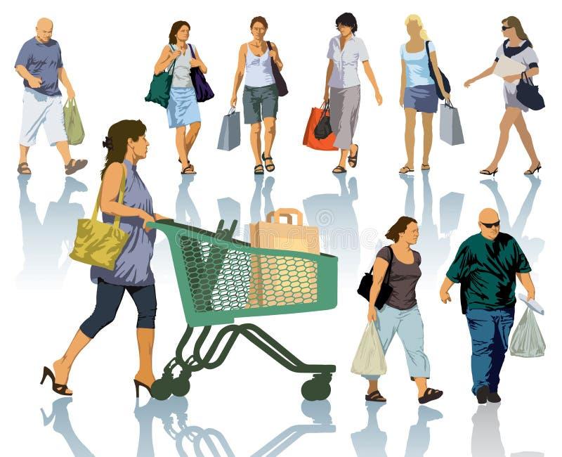 Люди покупок бесплатная иллюстрация