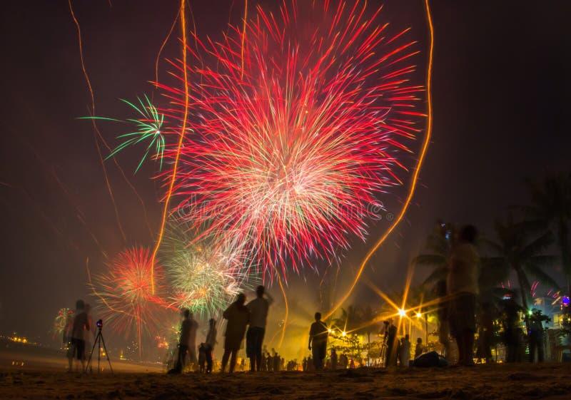 Download Люди празднуют ` S кануна Нового Годаа ища фейерверки Стоковое Изображение - изображение: 84669401
