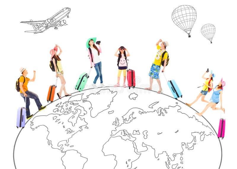 Люди путешествуют по всему миру и глобальная концепция иллюстрация вектора