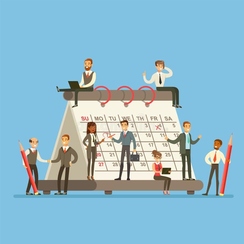 Люди работая в торговой фирме вокруг гигантского календаря говоря, обсуждая и планируя стратегию иллюстрация вектора