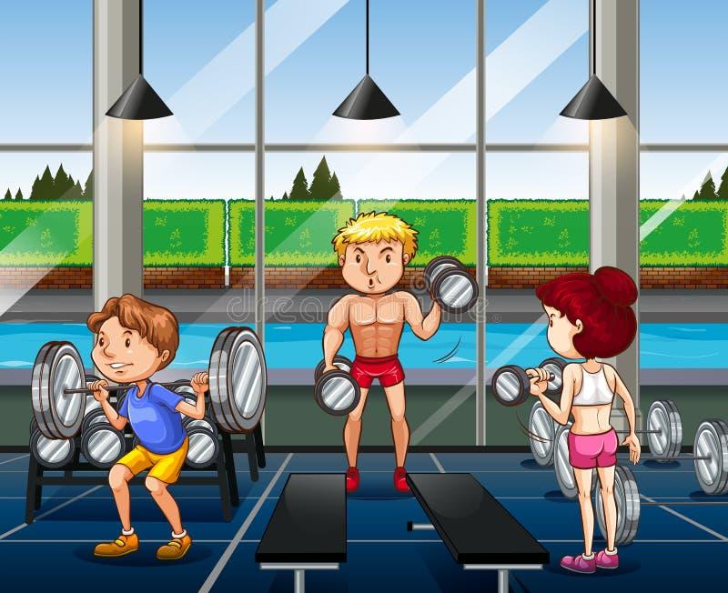 Люди разрабатывая в спортзале бесплатная иллюстрация