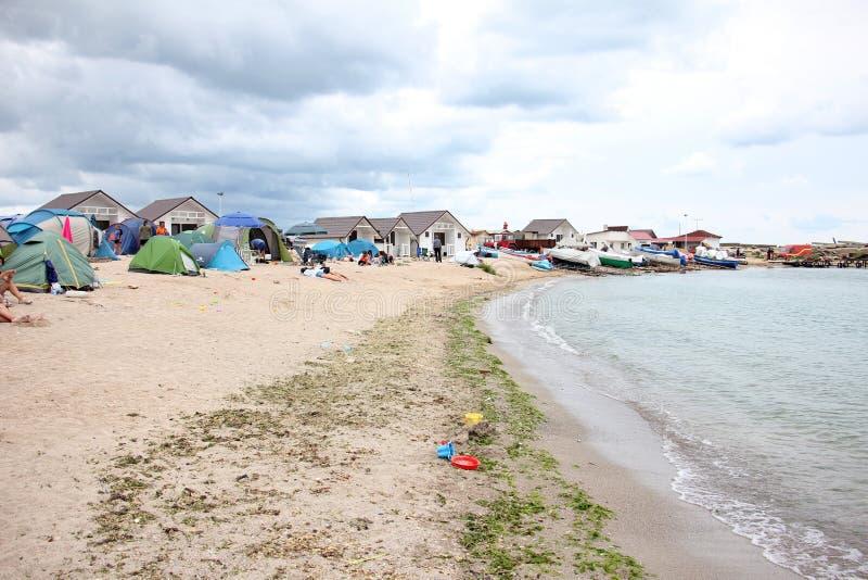 Люди располагаясь лагерем на пляже стоковое фото
