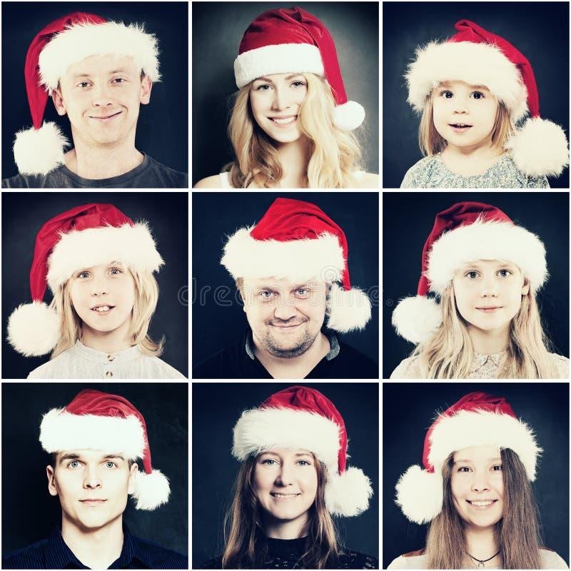 Люди рождества Человек, женщина и дети в шляпе Санты стоковые фото