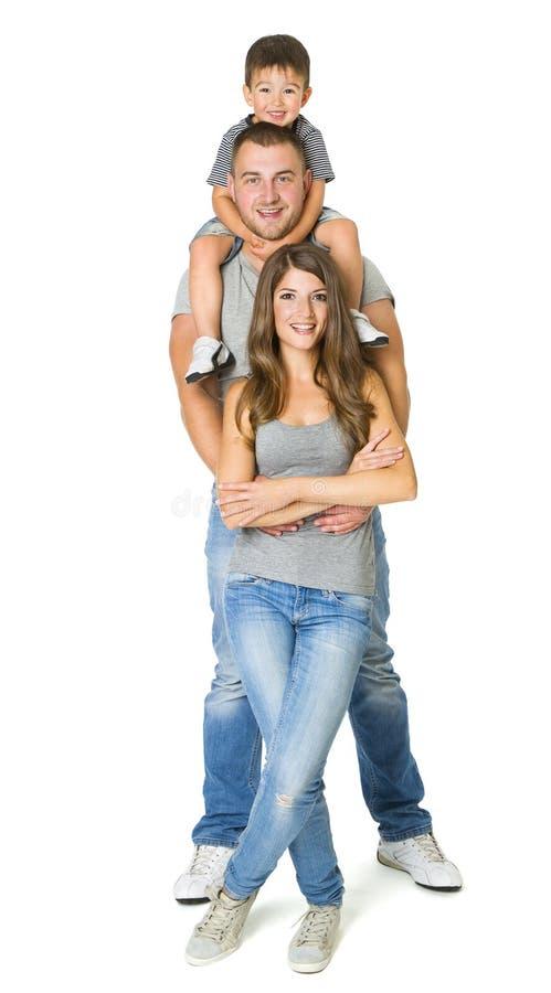 Люди семьи 3 над белой предпосылкой, ребенком матери отца стоковая фотография