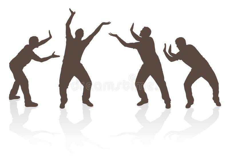 Люди силуэта поднимаясь и нажимая бесплатная иллюстрация