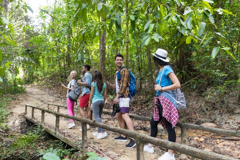 Люди собирают с рюкзаками идя на мост Trekking на пути леса, молодых человеках и женщине на походе стоковая фотография rf