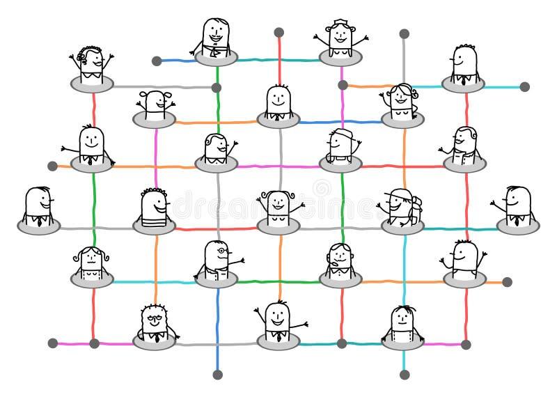 Люди соединенные шаржем на большой социальной сети бесплатная иллюстрация