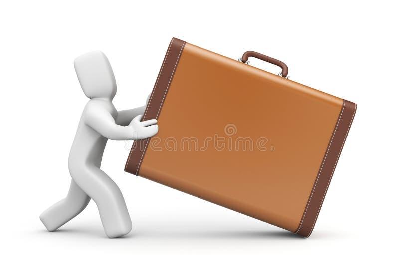 Люди с винтажным чемоданом иллюстрация вектора
