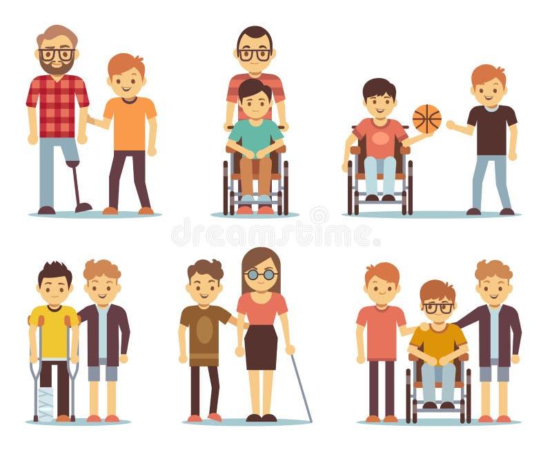 Люди с ограниченными возможностями и друзья помогая им для того чтобы vector комплект иллюстрация штока