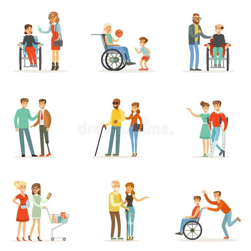 Люди с ограниченными возможностями и друзья помогая им для того чтобы установить для дизайна ярлыка Иллюстрации шаржа детальные к