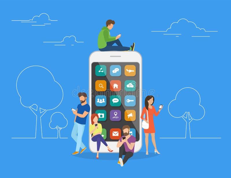 Люди с устройствами используя smartphones outdoors иллюстрация вектора