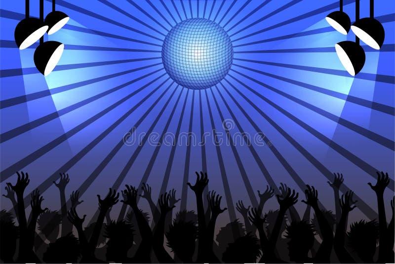Люди танцуя в клубе под шариком диско бесплатная иллюстрация