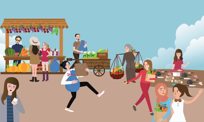 Люди традиционной деятельности при открытого рынка занятые продавая покупать и приносят вещество внешнее иллюстрация штока