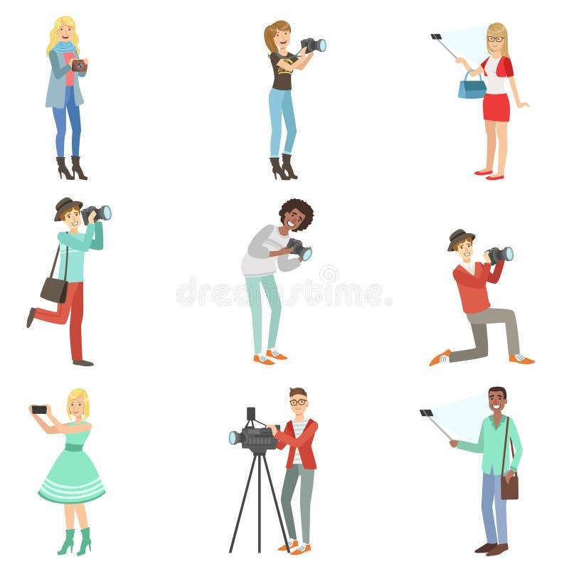 Люди фотографируя с фото и видеокамерами иллюстрация вектора
