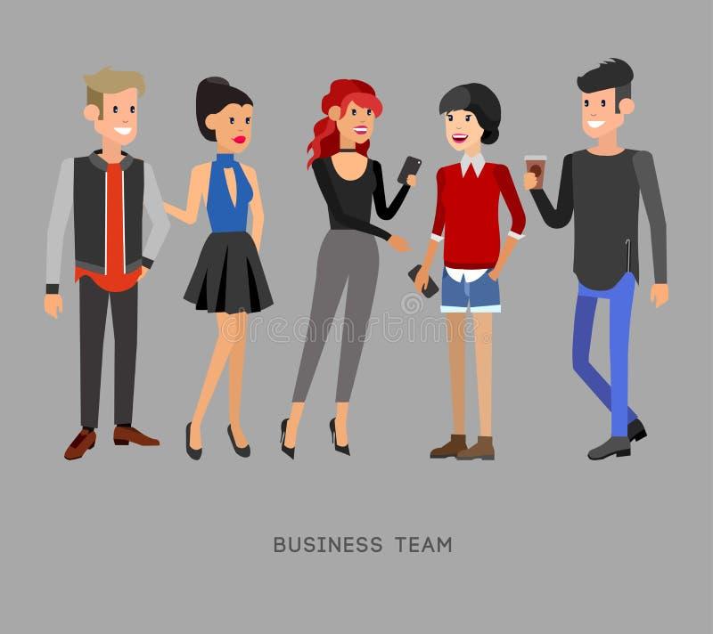 Люди характеров вектора детальные, команда дела иллюстрация вектора