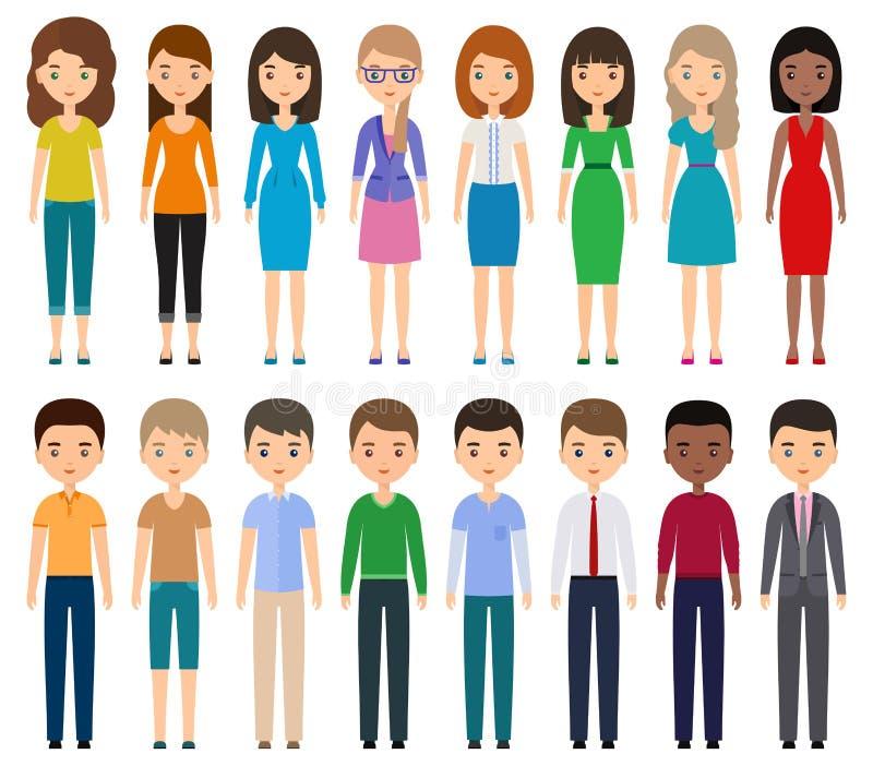 Люди характеров плоские вектор стоковые изображения