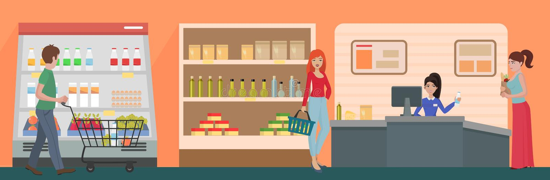 Люди ходя по магазинам в концепции супермаркета Продукты покупки клиентов в магазине супермаркета еды иллюстрация вектора