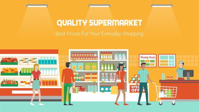 Люди ходя по магазинам на супермаркете иллюстрация вектора