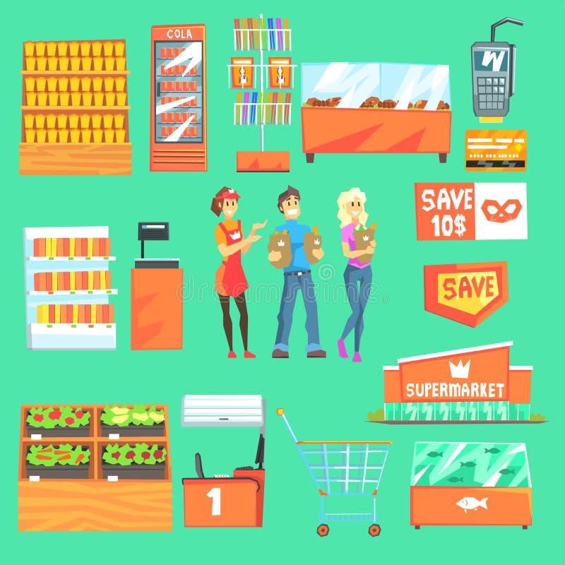 Люди ходя по магазинам для бакалей в супермаркете окруженном атрибутами магазина установленными иллюстраций иллюстрация вектора