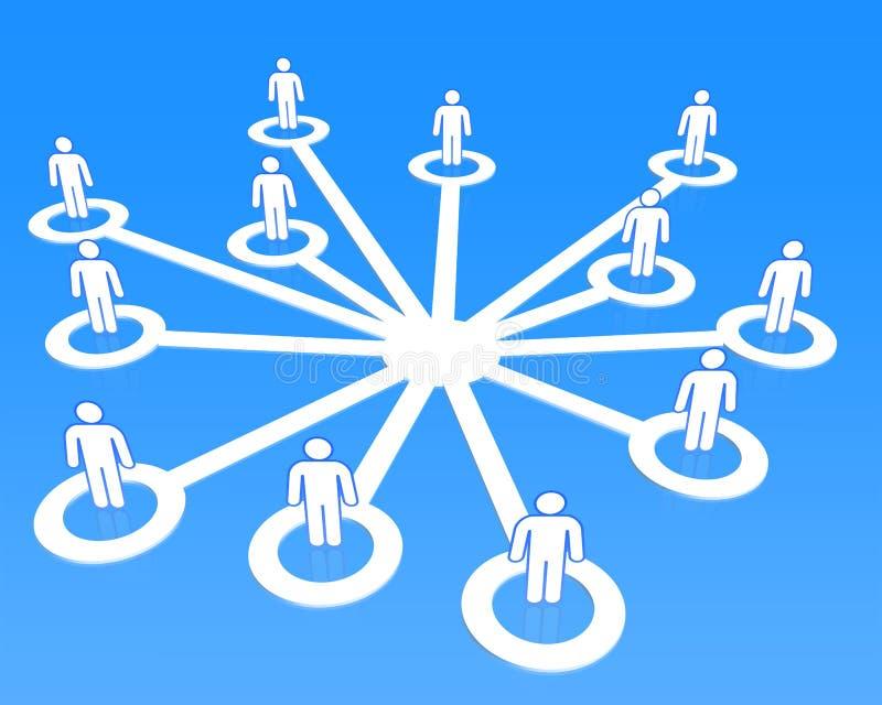 Люди 3D социальной концепции сети соединяясь иллюстрация штока