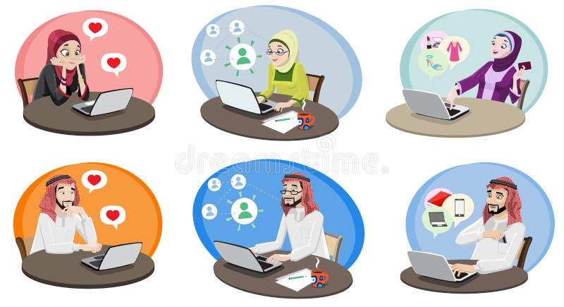 Люди Khaliji используя интернет 1 иллюстрация вектора