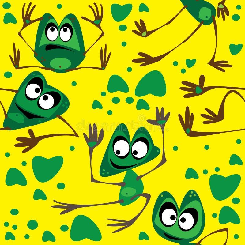 Лягушка безшовная на зеленом цвете иллюстрация штока