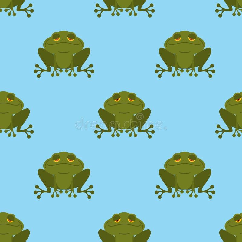 Лягушка в картине воды безшовной Голубое озеро и зеленая жаба Textur иллюстрация вектора