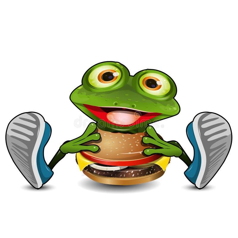 Лягушка ест Cheeseburger иллюстрация вектора