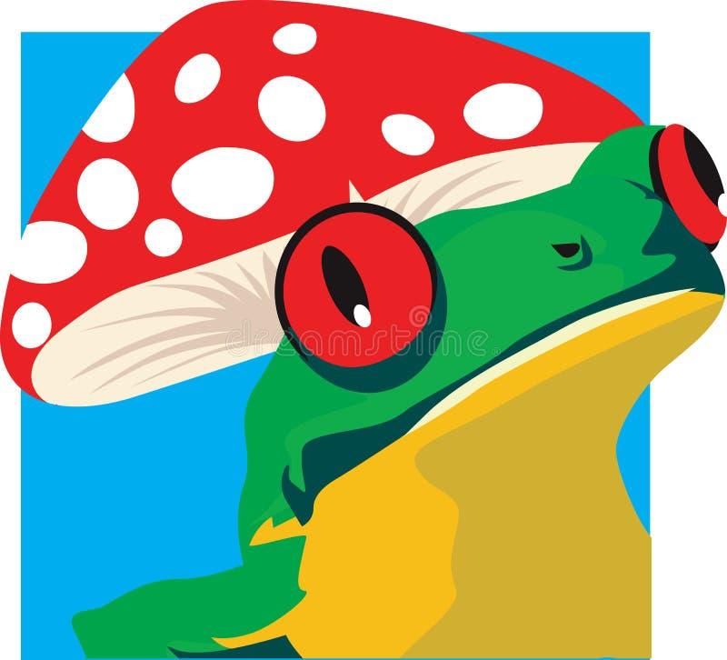 Лягушка и гриб бесплатная иллюстрация