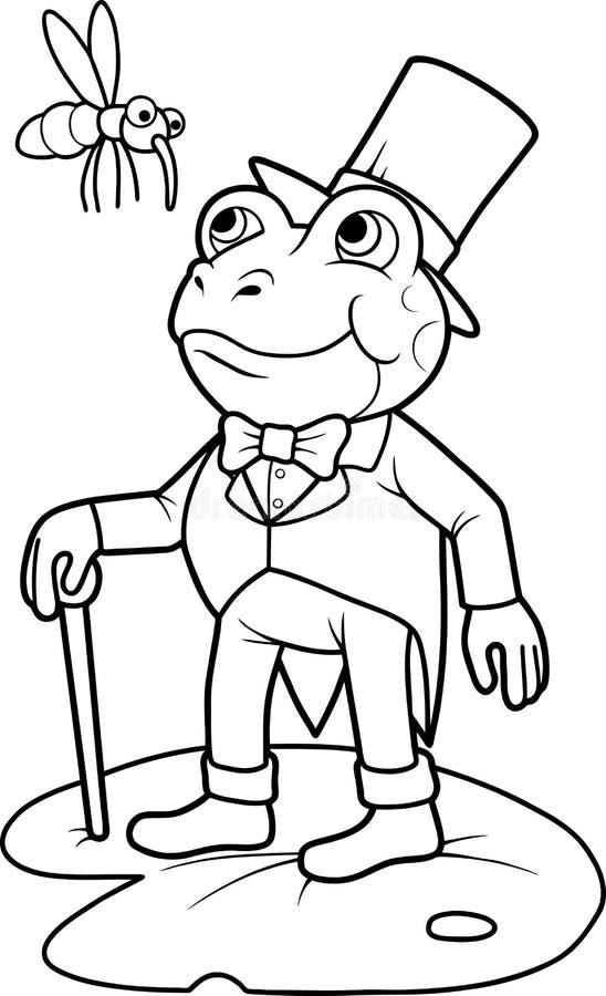 Лягушка идет иметь обедающий иллюстрация вектора