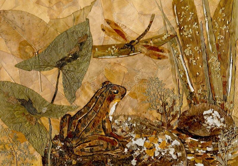 Лягушка и Dragonfly Высушенное изображение листьев бесплатная иллюстрация