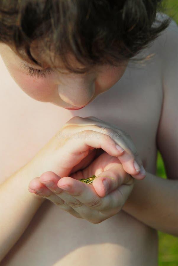 лягушка мальчика стоковая фотография rf