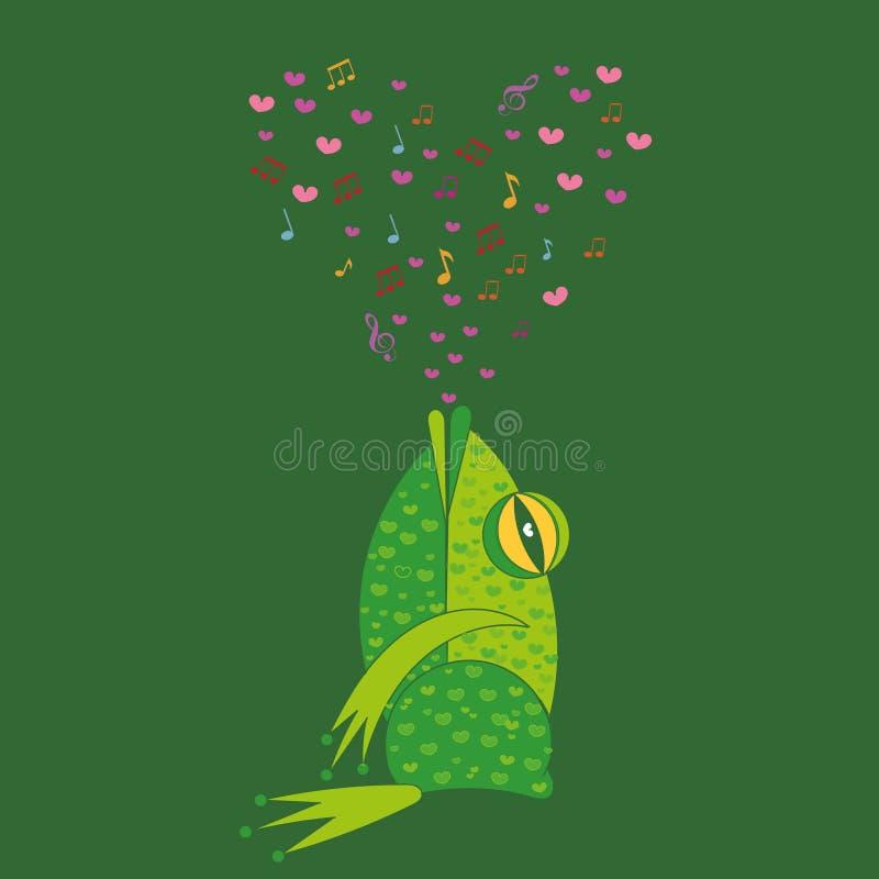 Лягушка петь Поздравительные открытки валентинки шаблона иллюстрация вектора