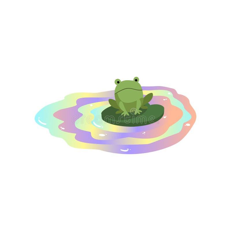 Лягушка плавая в загрязненную воду, глобальную проблему окружающей среды, иллюстрацию вектора экологической катастрофы на белизне иллюстрация вектора