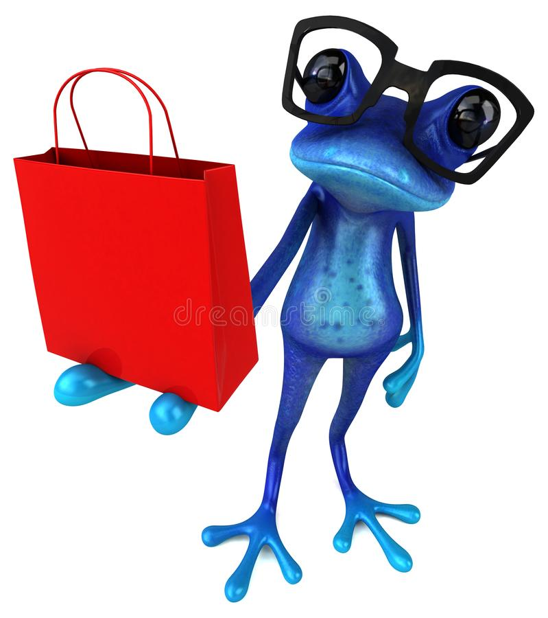 Лягушка потехи голубая - иллюстрация 3D иллюстрация вектора