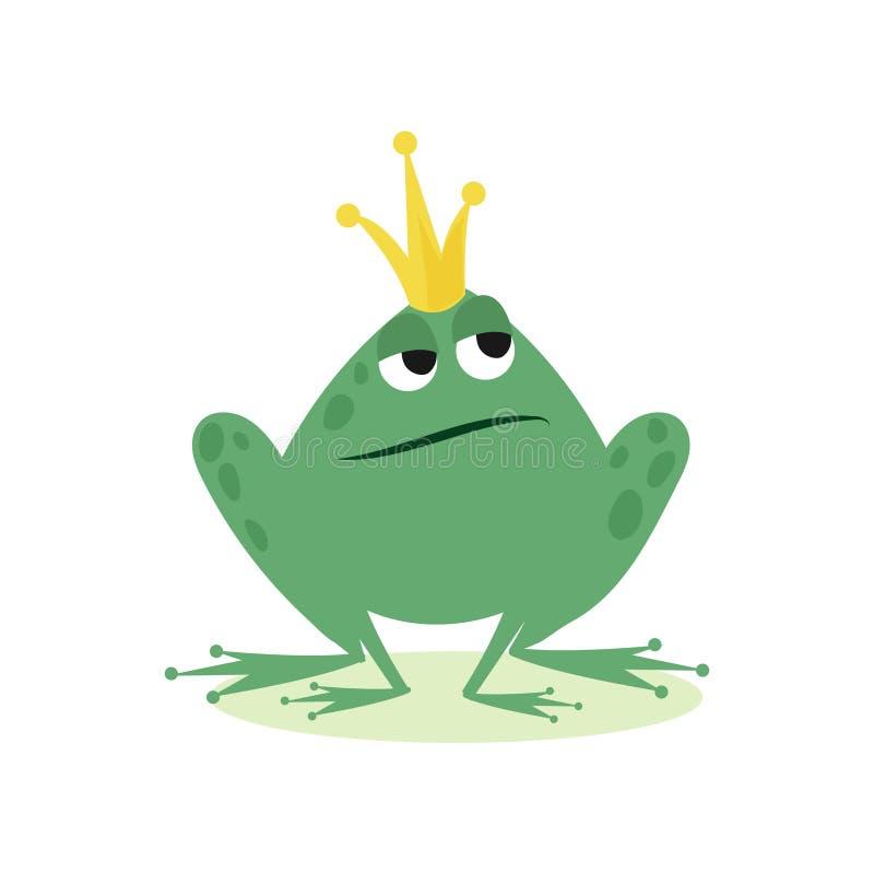 Лягушка принца в золотой кроне, иллюстрации вектора шаржа характера сказки иллюстрация штока