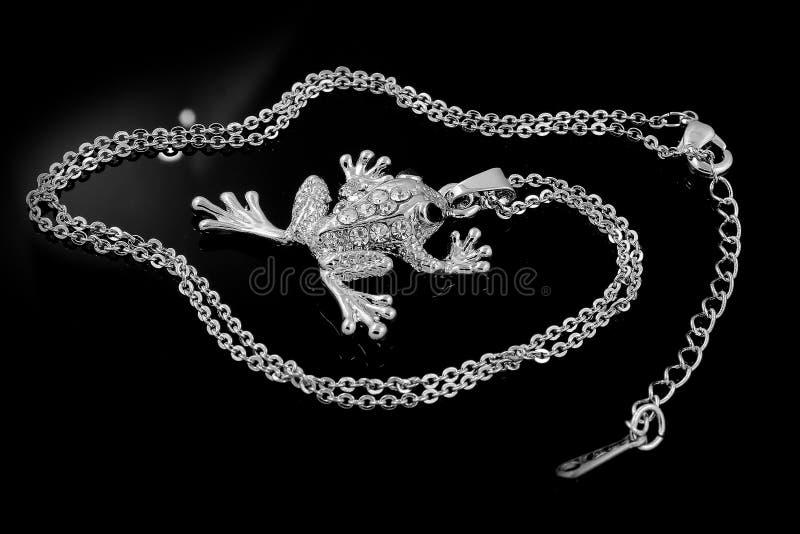 Лягушка драгоценности привесная - серебр стоковые фотографии rf