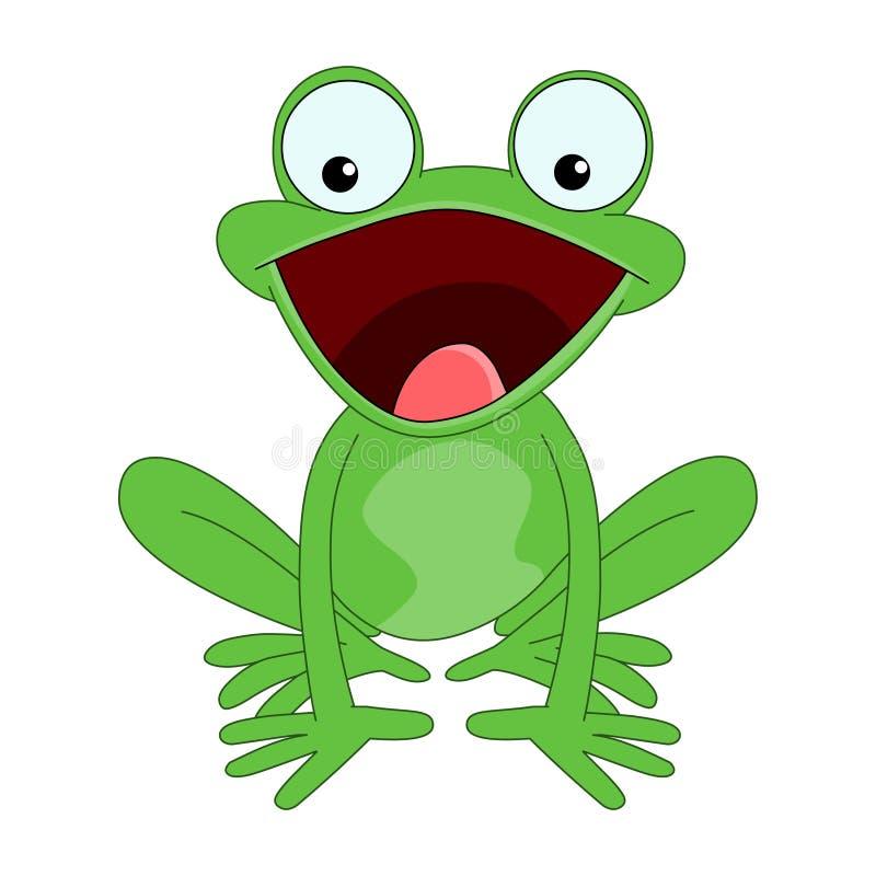 лягушка счастливая Вектор зеленой лягушки изолированный на белой предпосылке иллюстрация штока