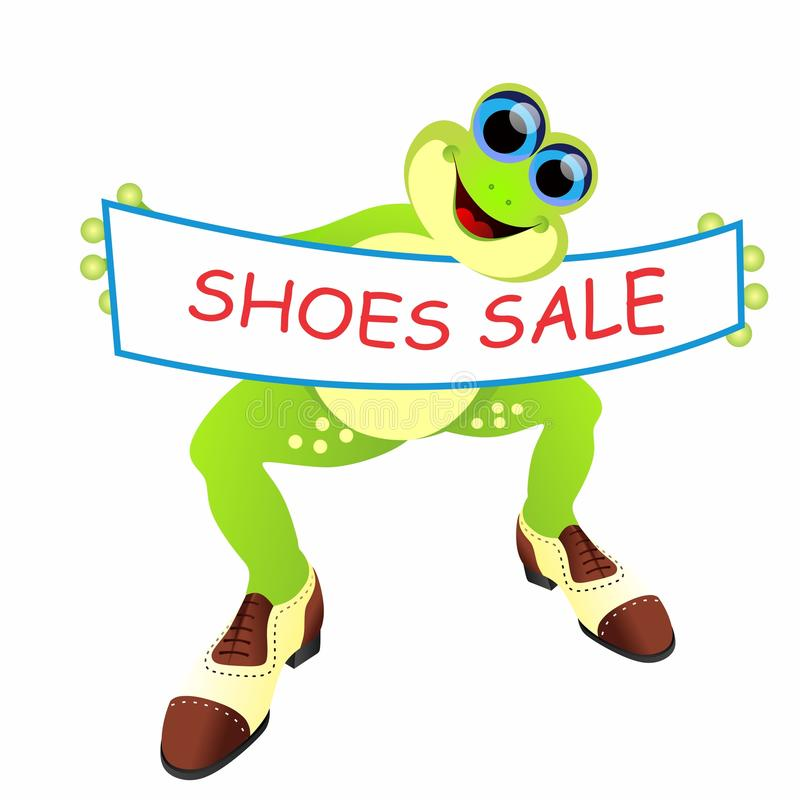 Лягушка с мужскими ботинками и знаменем иллюстрация штока