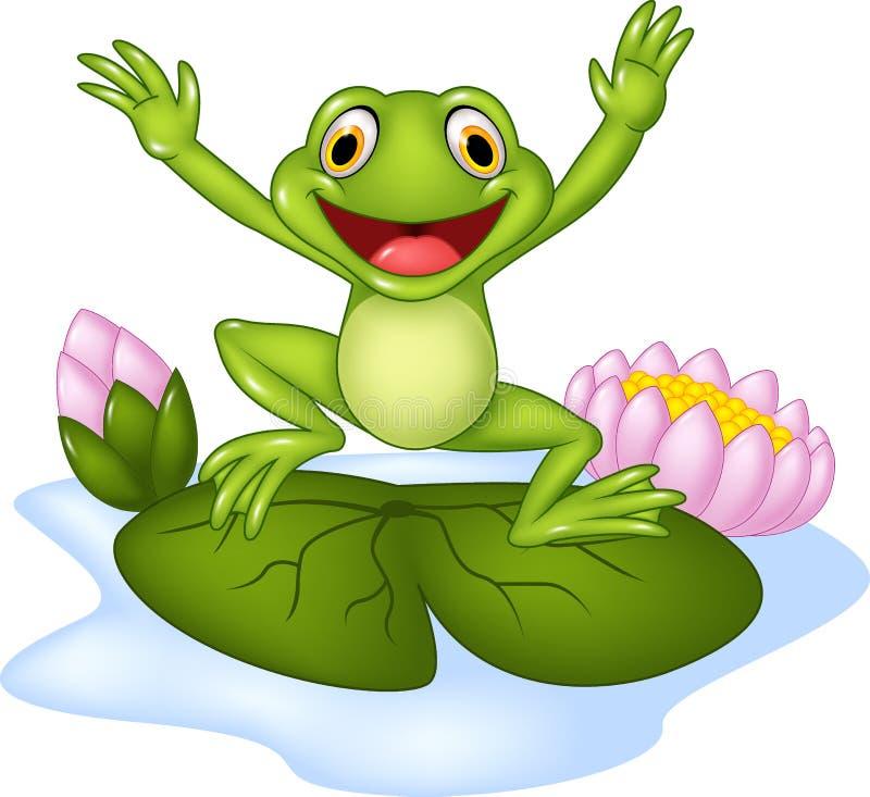 Лягушка шаржа счастливая скача на лилию воды бесплатная иллюстрация