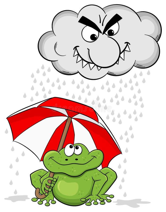 Лягушка шаржа с зонтиком и дождевым облако бесплатная иллюстрация