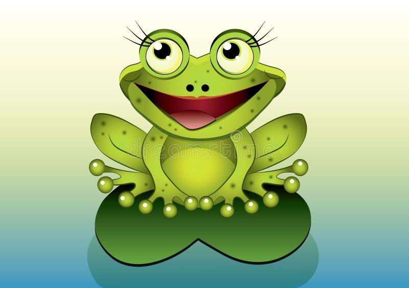 Лягушка шаржа иллюстрация штока