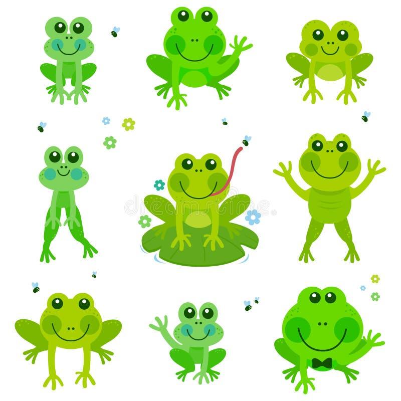 Лягушки vector комплект иллюстрация штока