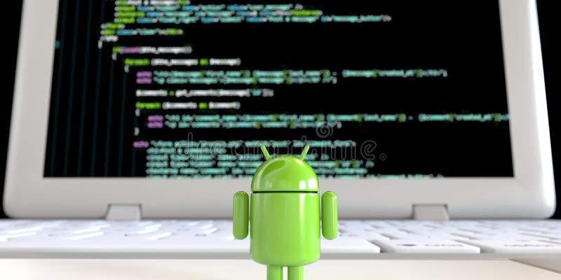 Ллойд от экрана компьютера облицовки логотипа OS андроида стоя одного с кодом иллюстрация штока